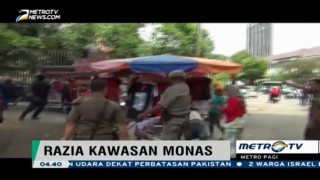 Kericuhan Warnai Razia PKL di Kawasan Monas
