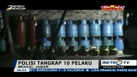 Polisi Gerebek Gudang Pengoplos Gas