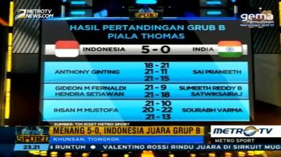 Kalahkan India, Tim Thomas Indonesia Juara Grup B