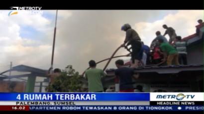 Diduga Akibat Gas Meledak, Empat Rumah di Palembang Terbakar