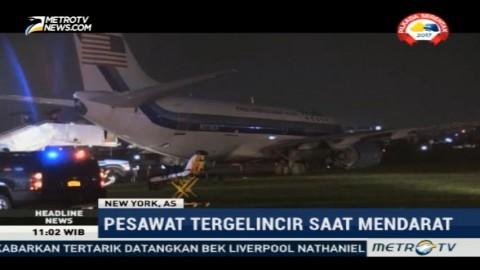 Pesawat Cawapres AS Tergelincir di New York