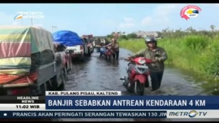 Banjir di Jalur Trans Kalimantan, Macet Hingga 4 KM
