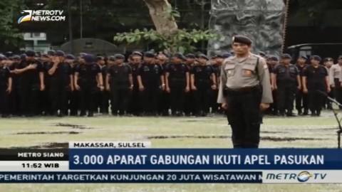 Ribuan Aparat Gabungan Ikuti Apel Kesiapan Pengamanan Doa Bersama di Makassar
