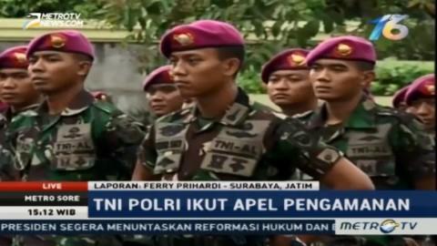 TNI-Polri Ikuti Apel Gelar Pasukan Pengamanan Doa Bersama di Surabaya