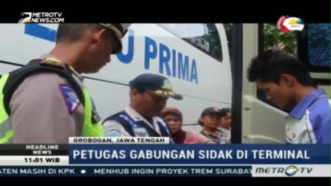 Petugas Gabungan Lakukan Sidak di Terminal Purwodadi