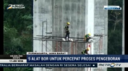 Lima Alat Bor Disiapkan untuk Memperbaiki Jembatan Cisomang