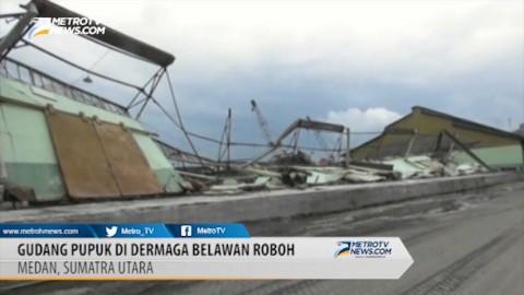 Gudang Pupuk di Dermaga Pelabuhan Belawan Roboh, Lima Terluka