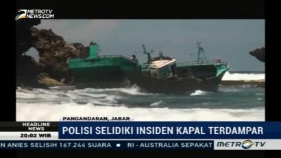 Kapal Tanpa Awak Terdampar di Pangandaran