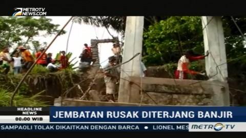 Jembatan di Luwu Rusak Parah Diterjang Banjir