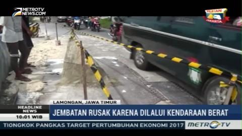 Jembatan Penghubung Tiga Kecamatan di Lamongan Rusak