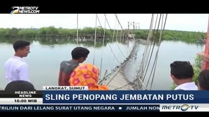 Jembatan Gantung di Langkat Roboh