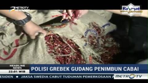 Polisi Gerebek Gudang Penimbunan Cabai di Medan