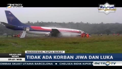 Sriwijaya Air Tergelincir di Bandara Rendani Manokwari
