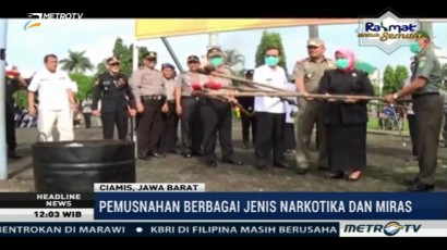 Polres Ciamis Musnahkan Puluhan Ribu Botol Miras dan Narkotika