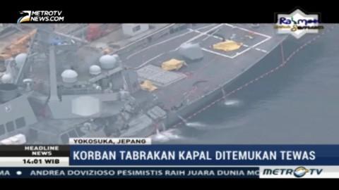 Korban Tabrakan Kapal Perang AS Ditemukan Tewas