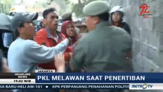 Razia PKL di Trotoar Jalan Jatibaru Diwarnai Kericuhan