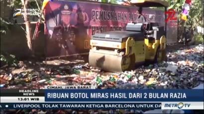 20 Ribu Botol Miras Ilegal Dimusnahkan di Cimahi