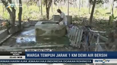 Kemarau Panjang, Warga Tuban Tempuh Jarak 1 Km Demi Air Bersih