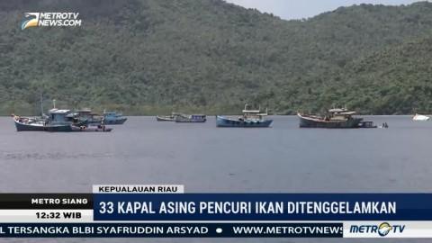 Menteri Susi Tenggelamkan 33 Kapal Asing di Natuna