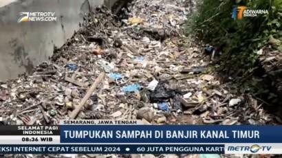 Sampah Menumpuk di Banjir Kanal Timur Semarang