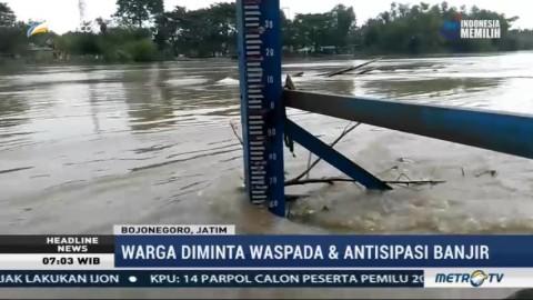 Permukaan Air Sungai Bengawan Solo di Bojonegoro Terus Naik