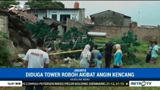 Sebuah Tower di Jaktim Roboh Diduga Akibat Angin Kencang