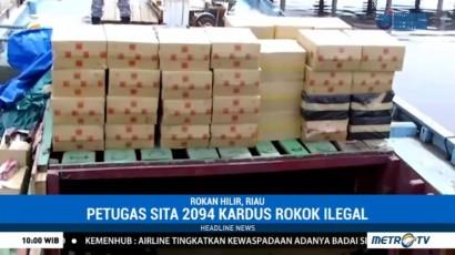 Petugas Gabungan Tangkap Kapal Pembawa 2.094 Kardus Rokok Ilegal