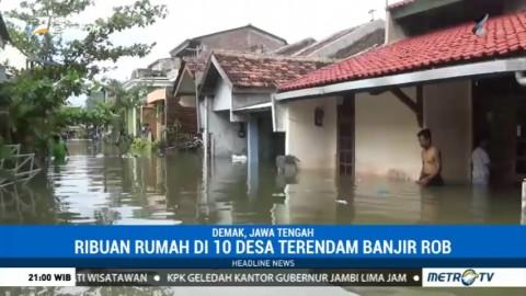Banjir Rob Terjang Sepuluh Desa di Demak