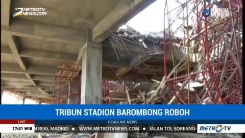 Tribun Stadion Barombong Roboh Akibat Cuaca Buruk