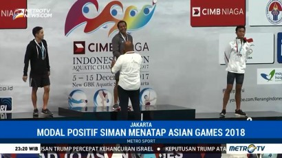 Siman Berjaya di 100 Meter Gaya Punggung dalam Test Event Asian Games
