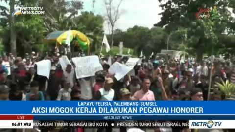 Pekerja Dinas PU Lampung Utara Mogok Kerja