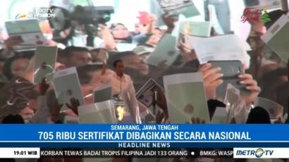 Jokowi Bagikan 705 Ribu Sertifikat Tanah Secara Nasional