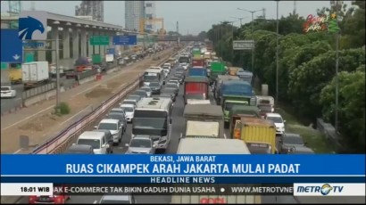 Lalin Tol Cikampek Arah Jakarta Mulai Padat