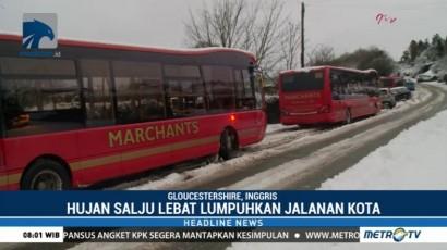 Inggris Dilanda Badai Salju, Sejumlah Kendaraan Terperangkap