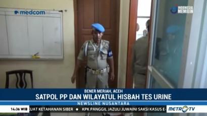 Satpol PP dan Polisi Syariah Aceh Tes Urine
