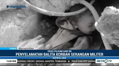 Rekaman Penyelamatan Balita Korban Serangan Israel