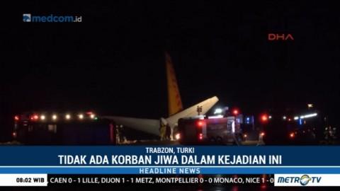 Sebuah Pesawat Tergelincir di Bandara Trabzon Turki