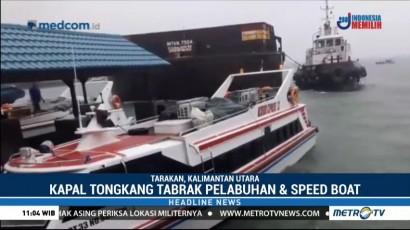 Cuaca Buruk, Kapal Tongkang Tabrak Pelabuhan Tengkayu I