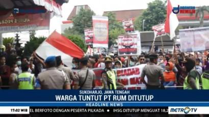 Warga Sukoharjo Protes Bau Limbah Pabrik PT RUM