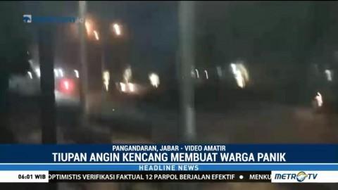 Video Amatir Kepanikan Warga saat Angin Kencang di Pangandaran