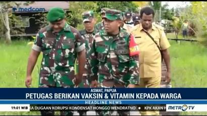 Satgaskes TNI Bagikan Vaksin dan Vitamin ke Warga Asmat