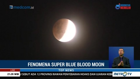 Penampakan Super Blue Blood Moon Setelah Fase Puncak