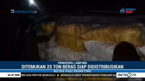 Panwaslu Sita 25 Ton Beras Diduga Milik Paslon Gubernur Lampung