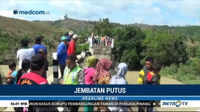 Jembatan Penghubung Semarang-Demak Putus Diterjang Arus Sungai