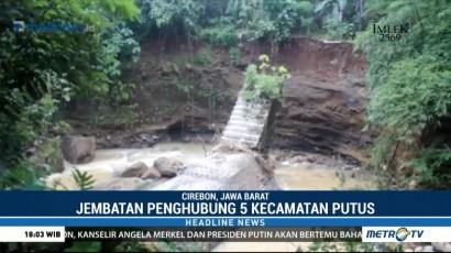 Jembatan Penghubung Lima Kecamatan di Cirebon Terputus