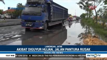 Jalan Pantura di Lamongan Rusak Akibat Tingginya Intensitas Hujan