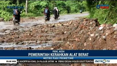 Hujan Deras, Ruas Jalan Penghubung Pidie-Aceh Barat Tertimbun Lumpur
