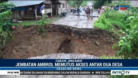 Jembatan Penghubung Dua Kecamatan di Cianjur Terputus
