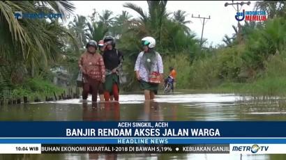 Banjir, Guru di Aceh Singkil Jalan Kaki 3 Km ke Sekolah