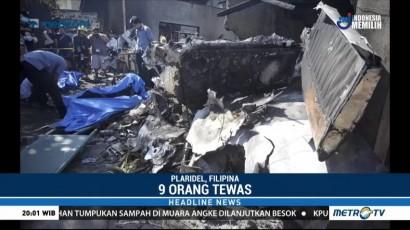 Pesawat Jatuh Timpa Rumah Warga di Filipina, Sembilan Tewas